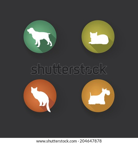 Dog and cat set. Collection of vector pets icon silhouette.  - stock vector