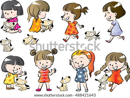 dog and kids vector drawing set