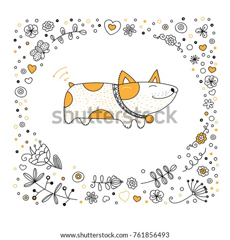 Dog Animal Coloring Book Page Cartoon Stock Vector 761856493 ...