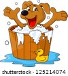 Dog bathing time - stock photo