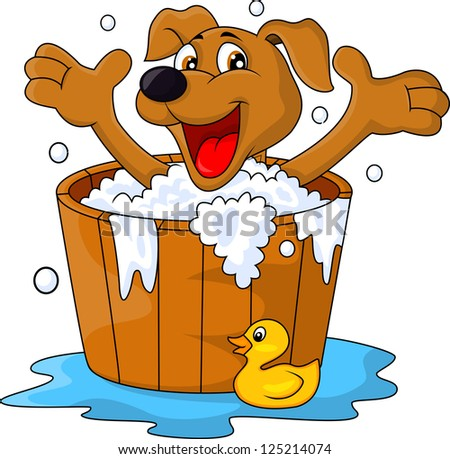 Dog bathing time - stock vector