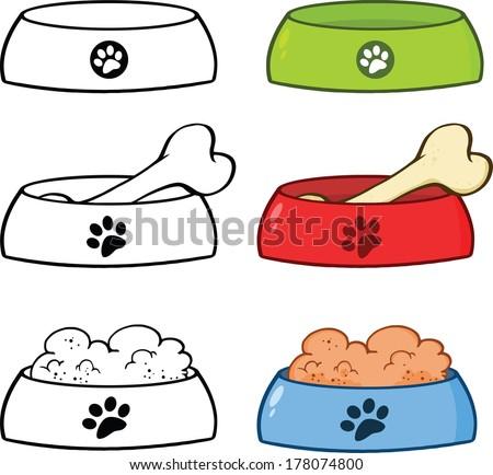Dog Bowl Cartoon Illustrations. Set Vector Collection - stock vector
