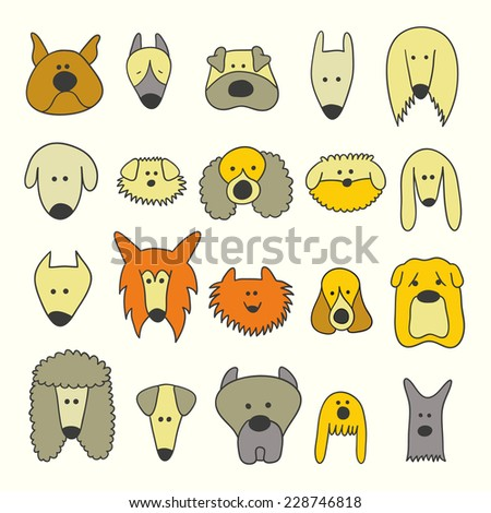 Dog breed collection icons. Cartoon Illustration of Different Funny Dogs Set. Hand draw illustration. - stock vector