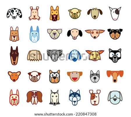 Dog breed collection icons - vector illustration. - stock vector