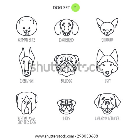Dog breeds icons - stock vector