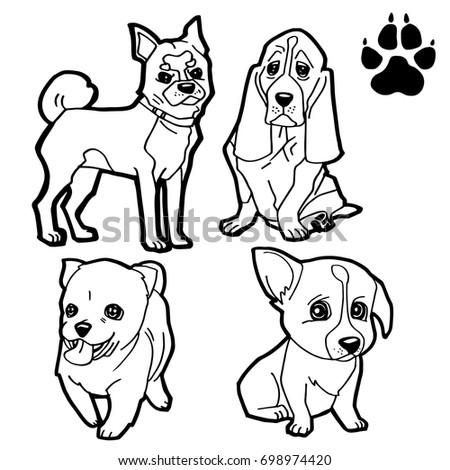 Dog Cartoon Dog Paw Print Coloring Stock Vector (2018) 698974420 ...