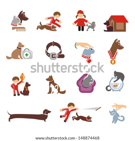 Dog & Cat icons set  - stock vector