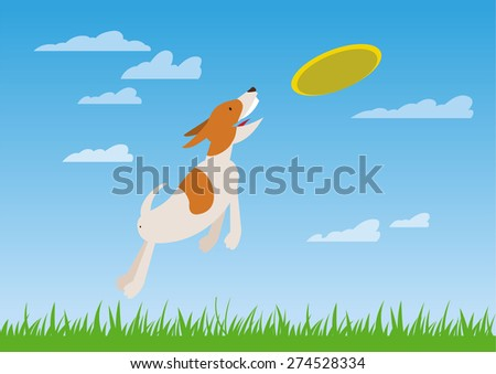 Dog catches the flying disc