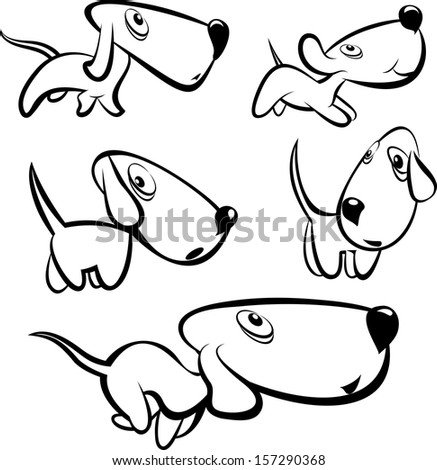 Dog collection - vector, Cartoon, Line art, dog cartoon, dog logo, cute dog, dog isolated, vector dog, dog sing