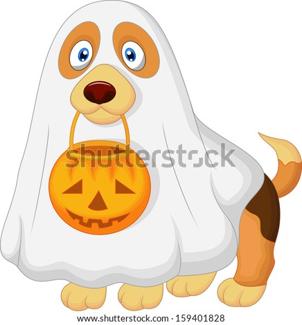 Dog dressed up as a spooky ghost