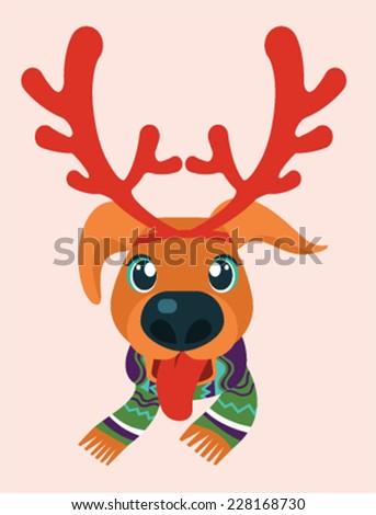 Dog dressed up in reindeer antlers. Christmas dog. - stock vector