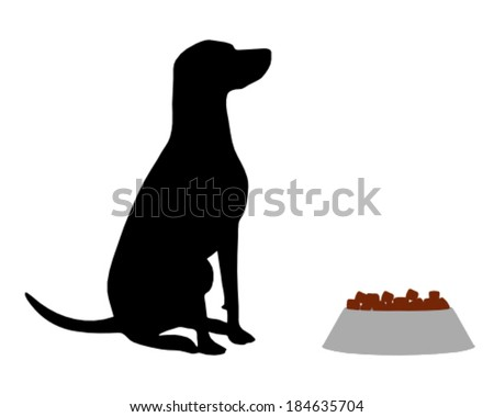Dog feeding - stock vector