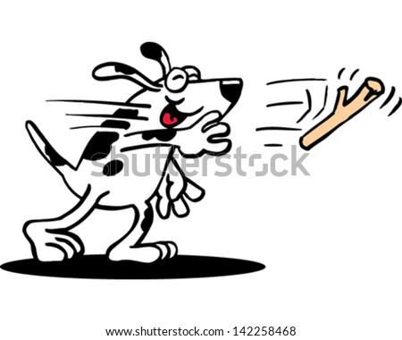 Dog Fetch - stock vector