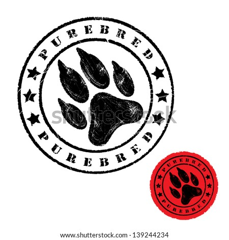 Dog foot print stamp - vector illustration - stock vector