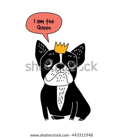Dog French bulldog queen fun symbol and sign isolate on white. Color vector illustration. EPS8 - stock vector