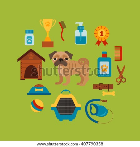 Dog grooming concept with pet care elements. Dog grooming:bowl, collar, leash. Dog grooming  poster vector illustration. Colorful dog grooming concept in flat style. Pet care dog grooming concept  - stock vector