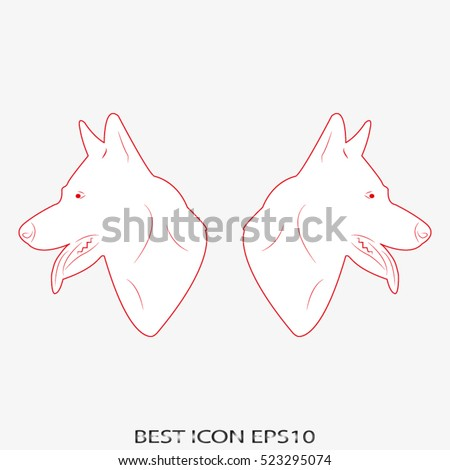 dog, guard, shepherd, vector icon, eps10