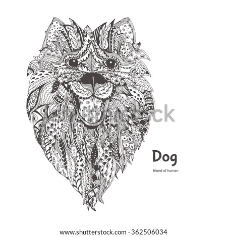 Dog. Hand-drawn dog with ethnic floral doodle pattern. Coloring page - zendala, design for  relaxation and meditation for adults, vector illustration, isolated on a white background. Zen doodles - stock vector