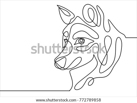 Dog head vector- continuous line drawing