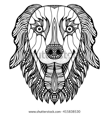 Dog head zentangle stylized, vector, illustration, freehand pencil, hand drawn, pattern. Zen art. Ornate vector