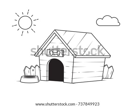 Dog House In The Backyard Outline Black And White Drawing For Coloring Pages Vector Illustration