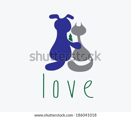dog hugging cat with love - stock vector