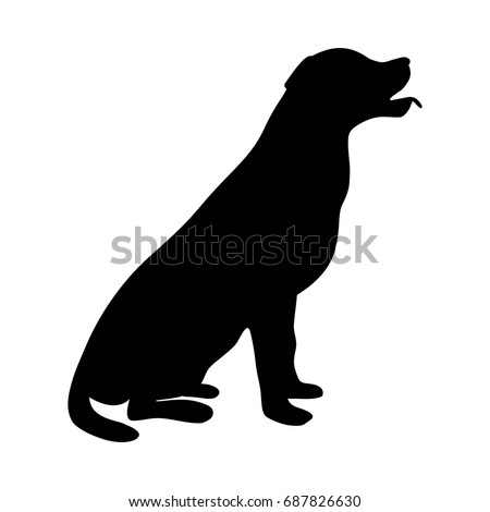 labrador silhouette sitting vector illustration
