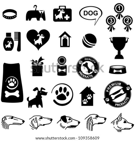 Dog icon set isolated on White background. Vector illustration