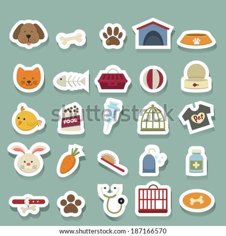 Dog icons set - stock vector