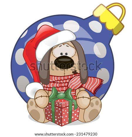 Dog in a Santa hat with gift  - stock vector