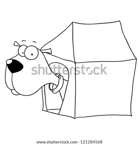 dog in dog house, cartoon, contour - stock vector