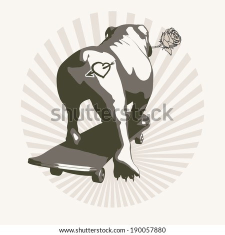 Dog in love, May be printed on T-shirts. - stock vector