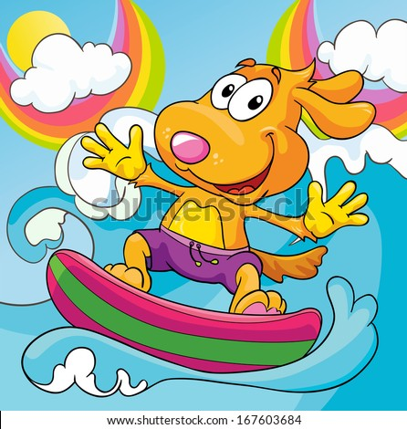 dog in the surf on a colored background, vector illustration - stock vector