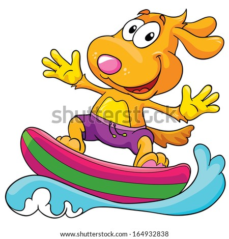 dog in the surf on a white background, vector illustration - stock vector