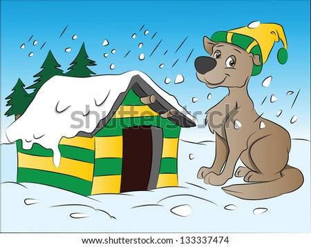 Dog in Winter, vector illustration - stock vector