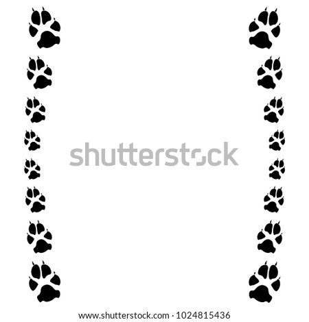 dog cat paw white footprint frame stock vector royalty free
