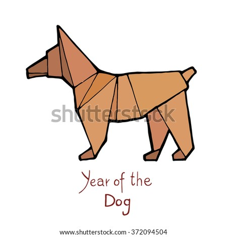 Dog origami, Chinese Zodiac. Hand drawn vector illustration