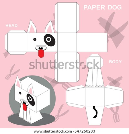 Dog Paper Craft Template Stock Vector    Shutterstock