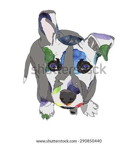 dog pattern American Staffordshire Terrier vector illustration - stock vector
