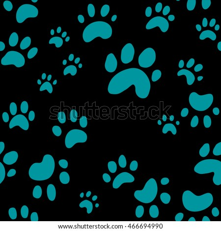 Dog Paw Print Seamless Wallpaper Background Vector Cute Puppy Or Prints In Random