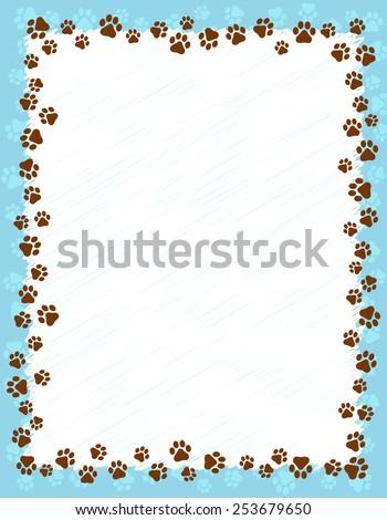 Dog Paw Prints Border Frame On Stock Vector (2018) 253679650 ...