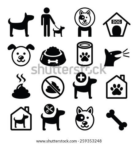 Dog, pet icons set - vet, dog's food, dog hotel - stock vector