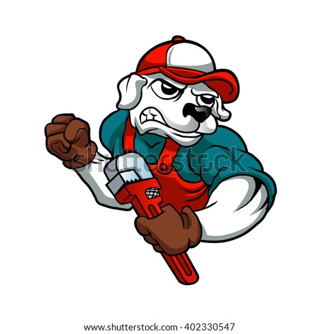 dog plumber holding a big wrench