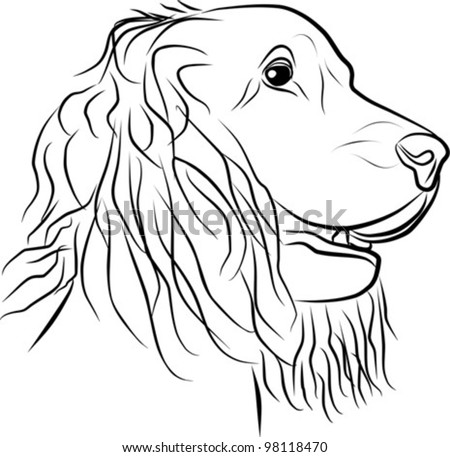 dog portrait - freehand on a white background, vector illustration - stock vector