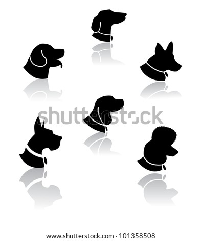 Poodle Head Silhouette Dog portrait silhouette icon
