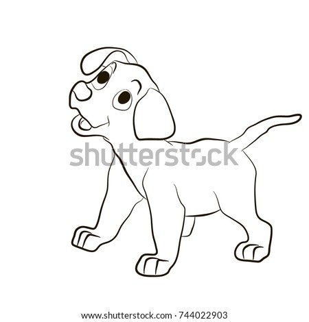 Dog , Puppy Smiling Funny . Animals Coloring Pages Cartoon Vector  Illustration