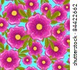 Dog rose seamless pattern. Pink and blue. Vector background. - stock photo