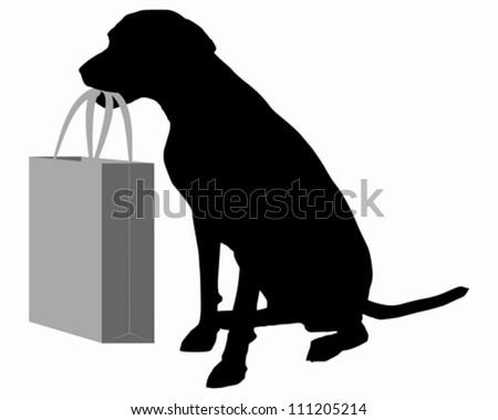 Dog shopping - stock vector