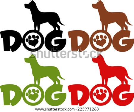 Dog Silhouette Over Text With Love Paw Print. Vector Collection Set - stock vector