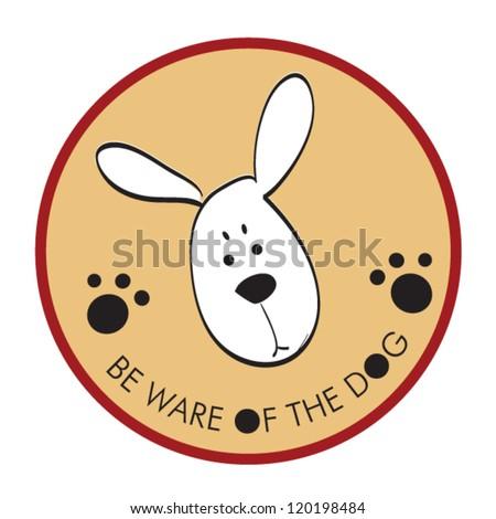 dog sticker beware vector - stock vector